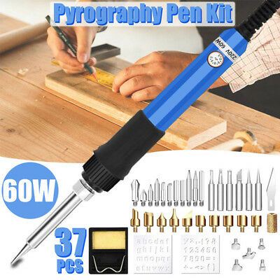 37PCS 60W Wood Burning Pen Soldering Iron Kit Pyrography Craft Tool Tips