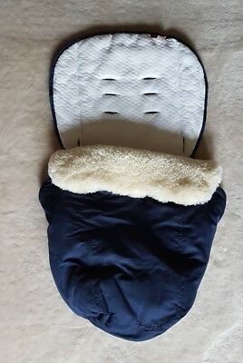 Mothercare Orb Limited Edition Navy Blue Sheepskin Foot Muff Cosy Toe Universal