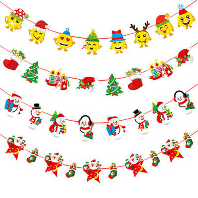 Christmas Party Hanging Decor Snowman Santa Claus Elk Sock Banner Decor Supplie