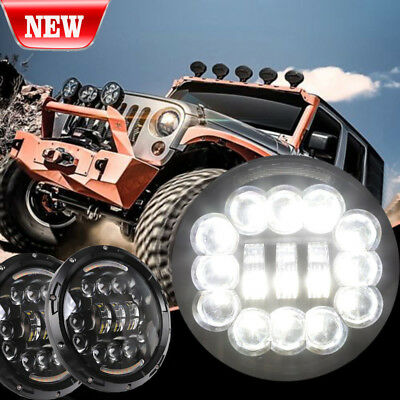 2PCS 7Inch Round 75W LED Headlight Hi/Lo DRL For Jeep Wrangler JK TJ 1997-2017