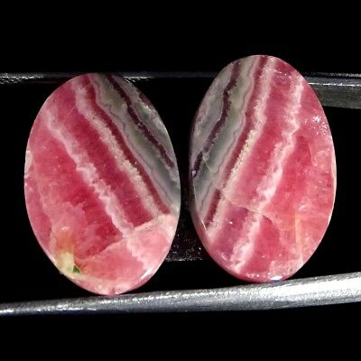 25.50Cts 100% Natural Pink Rhodochrosite Pair Oval Cabochon Loose Gemstone