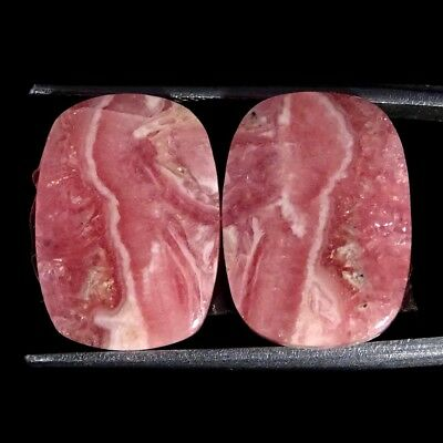 19.50Cts 100% Natural Pink Rhodochrosite Pair Cushion Cabochon Loose Gemstone