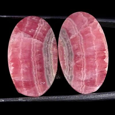 28.00Cts 100% Natural Pink Rhodochrosite Pair Oval Cabochon Loose Gemstone