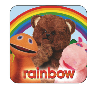 Rainbow Coaster Large size 9cm by 9cm novelty rainbow tv show