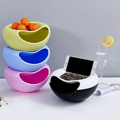 Double Layer Snack Fruit Plate Bowl Dish with Phone Holder for Home Lazy Tools