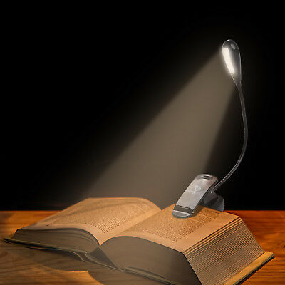 4LED USB Rechargeable Light Dimmable Clip-On Desk Reading Book Lamp Flexible Arm