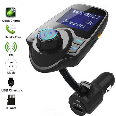 T10 Bluetooth Car Kit Wireless FM Transmitter USB Charger Audio MP3 Player