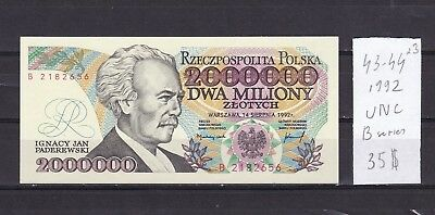 Poland  1992  UNC  2000000 Zlotych  Bank Note .B   series  .See scans.