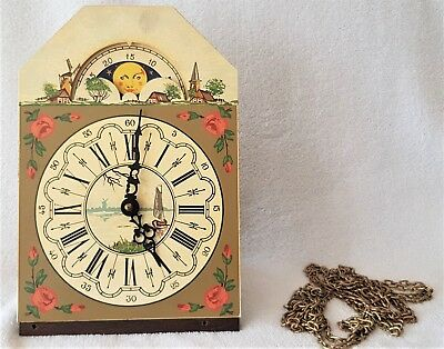 Wall Clock Movement Dutch Painted Dial Vintage 1973 Chains Moonphase Hermle