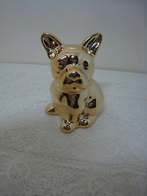 French Bulldog Sitting GOLD Colored Figurine *NEW