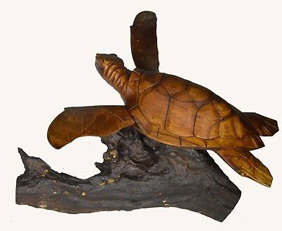 LG WOOD OCEAN SEA TURTLE ON STAND MAHOGANY HAND CARVED Tropical Island Beach ART