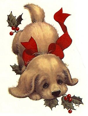 Christmas Puppy Dog Holly Berries Select-A-Size Ceramic Waterslide Decals Ox