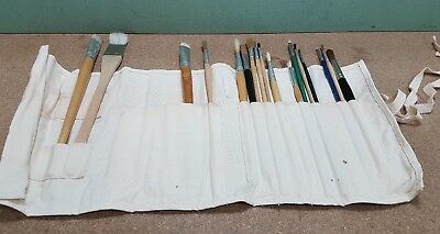 Collection of Artists Brushes in Fabric Wrap