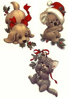 "Christmas Kitten Puppy Koala Bear 2"" Waterslide Ceramic Decals Xx"