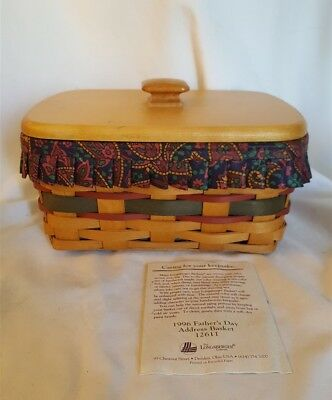 Longaberger 1996 FATHER'S DAY ADDRESS BASKET 12611 With Liner Protector Wood Lid