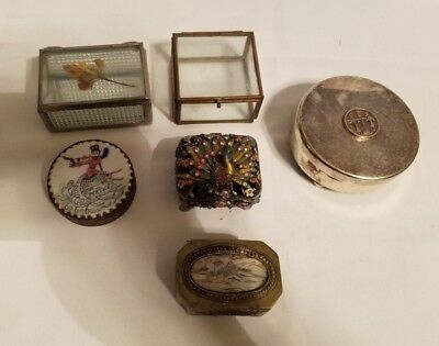 Antique Vintage Mixed Lot of Small Decorative Jewelry / Trinket Boxes