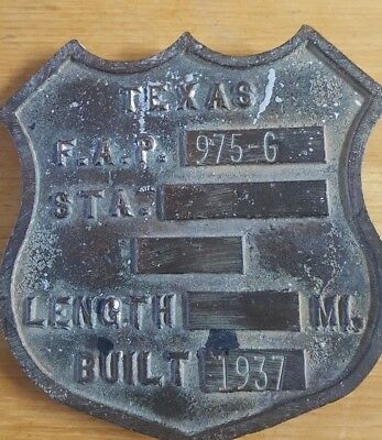 VINTAGE ORIG TEXAS Federal Aid Primary F.A.P. ROAD FEDERAL SHIELD SIGN Bronze