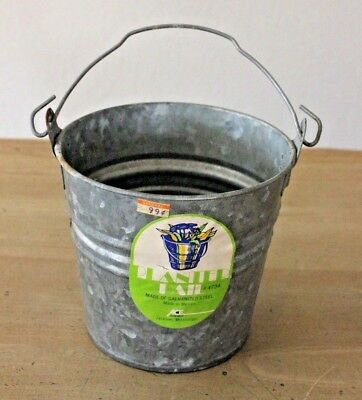 "Vintage Galvanized Steel Metal Pail Planter Garden Bucket Handle 5.5"" Tall #4734"