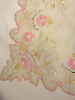 Vintage Antique Canton Chinese Heavily Embroidered Handkerchief Butterflies WoW!