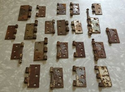 Large Lot Of 21 Vintage Rustic Door Hinges Ball Top Pins Rusty Decor