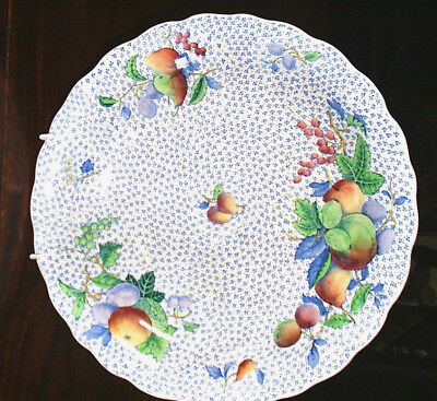 COPELAND SPODE Vintage Shallow Dish 9.5 inches Blue Ditsy Design & Fruits