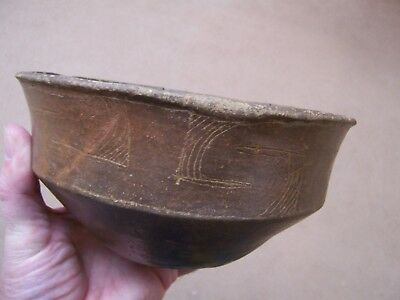 Authentic Circa 1300-1500 Ad Engraved Caddo Pottery Bowl From Southwest Ark