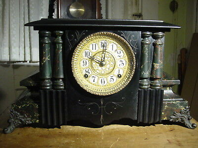 "Antique Rare Wm. Gilbert 1900 ""cato""  Black Enamel Mantel Clock Working Well"