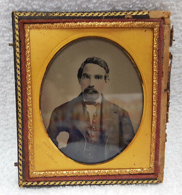 Vintage Ambrotype 1/6 Plate; Portrait of a Man; marked Quinby, 385 Broadway