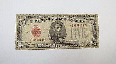 Series of 1928-E Red Seal $5 Legal Tender US Note VERY GOOD Fr#1530