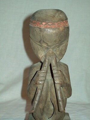 wooden Amazon River tribe Powder sniffer statue carving sculpture 16""
