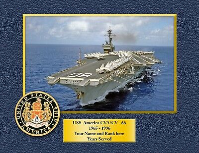 USS AMERICA CVA-CV66 Custom Personalized Print of US Navy Ships Unique Gift