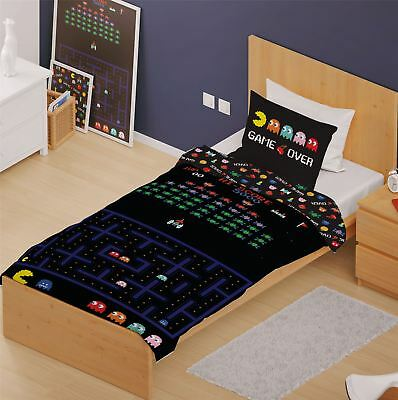 Retro Games Single Panel Duvet Cover Bedding Set Space Invaders Pacman New Gift