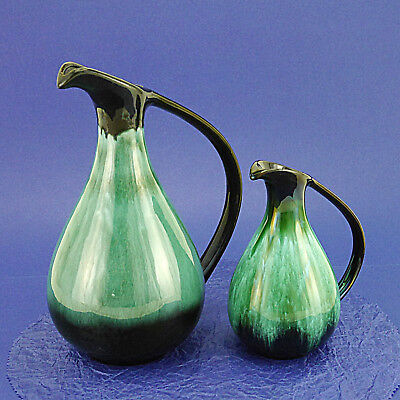 """Two Vintage Blue Mountain Pottery Jugs/Pitchers/Ewers -27cm/10.6"""" & 18cm/7"""" High"""