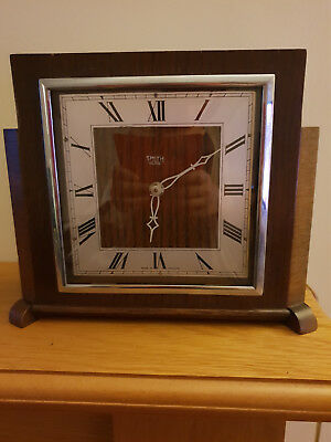 Smiths Sectric Wooden Mantel Clock-Retro, Art Deco