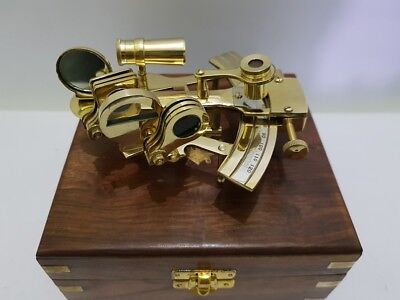 Nautical brass Sextant 4 Inches antique Marine brass sextant with wooden box