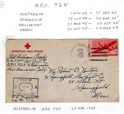 1943 APO 928, Australia to Springfield, Mass. passed  Examiner cover