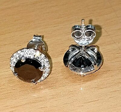 Delicated 4Ct Round Cut Black Diamond Halo Stud Earrings 18K White Gold Finish
