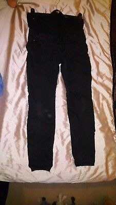 Ladies Black Over The Bump Maternity Jeans Size 10 New Look