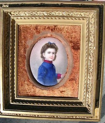Fine Antique Portrait Miniature Girl on Porcelain Plaque KPM? Gesso Frame