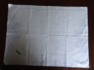 Pure Linen Floral Traycloth to Embroider Sweetpeas