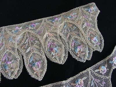Antique Tambour Net Lace Trim with Pastel Colored Embroidered Flowers