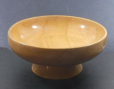 Vintage Pine Wooden Pedestal Fruit Bowl : Mid Century Treen Collectible Piece