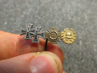 Wwi Imperial German 4-Place Medal Stickpin-Iron Cross & Gold Wound Badge-Origina