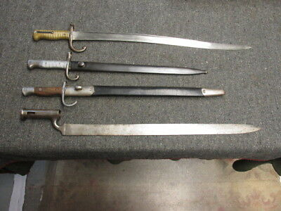 Lot Of 4 Bayo'S-French Chassepot-Argentine Mauser-British Enfield-Brown Bess
