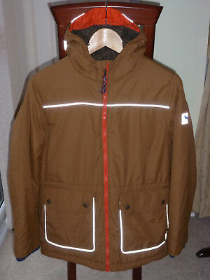 Auth Mini Boden Boy's 11-12Yrs Brown W/ Silver Stars Hooded Winter Jacket- Vgc