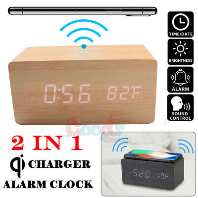Wood Wooden Alarm Clock With Qi Wireless Fast Charger Charging Pad for Samsung