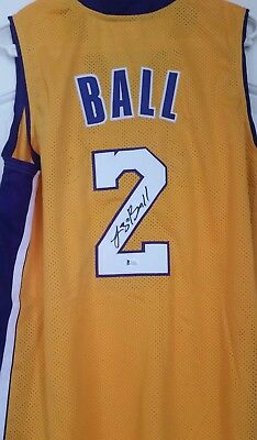 3c37a12ca4b Lonzo Ball Signed Autographed Los Angeles Lakers Yellow Jersey Beckett COA