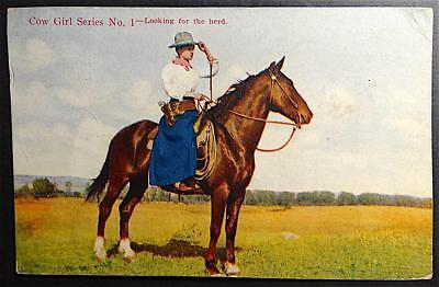 Postcard Cow Girl Series No. 1 Looking for the Herd Cowgirl on Horse Tinted 1910