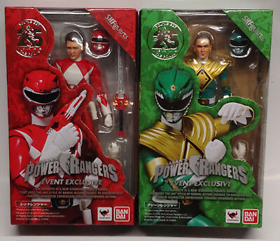 Sdcc 2018 Bandai Sh Figuarts Power Rangers Red & Green Ranger Action Figures New