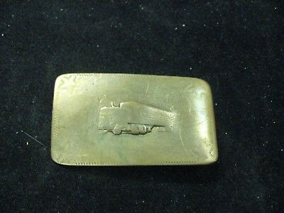 Vintage Heavily Worn Solid Brass Tractor Trailer Belt Buckle 3-1/4""